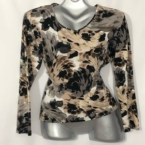 CROFT AND BARROW big floral print long sleeve top